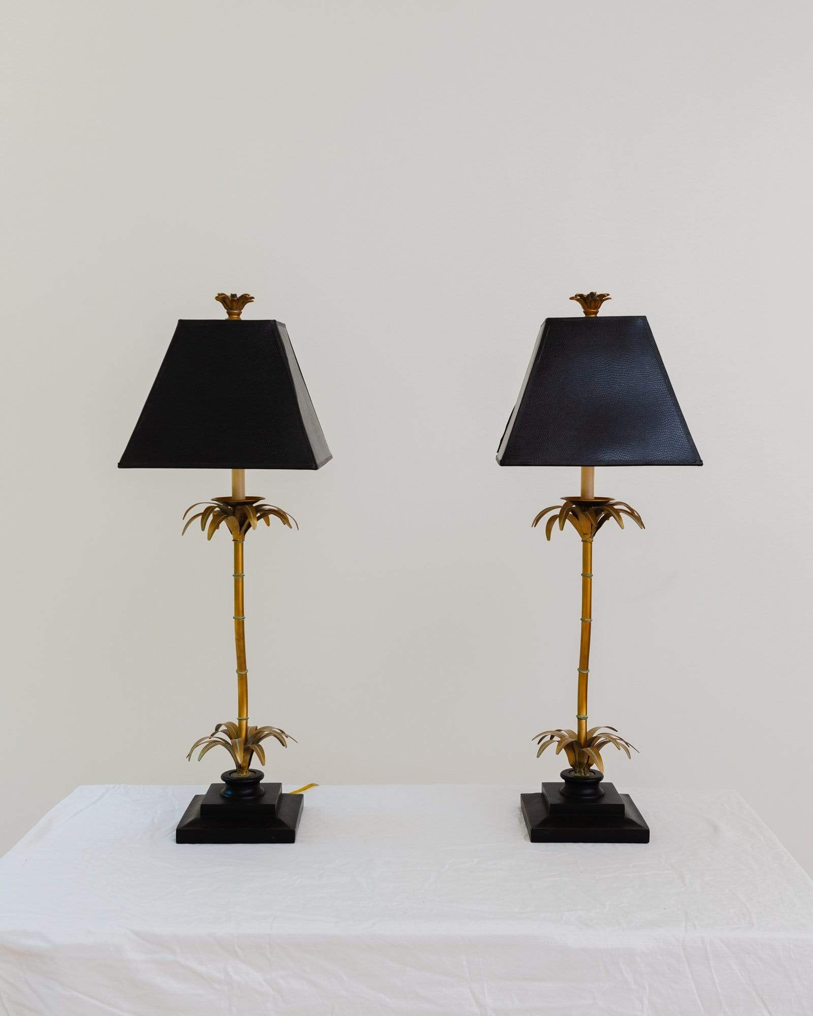 1960s Hollywood Regency Style Palm Tree Table Lamp, A Pair - Nice Vintage Things