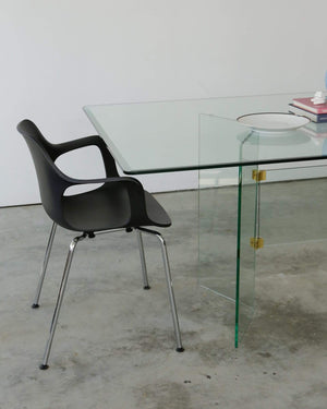 1970s Leon Rosen for Pace Collection Glass Dining Table - Nice Vintage Things