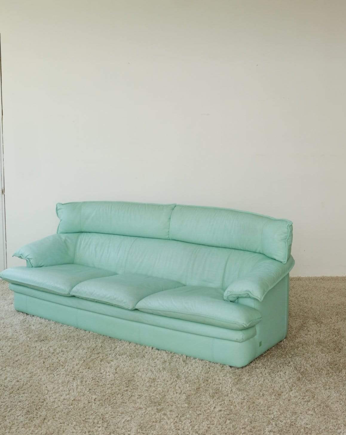 Nice Vintage Things  Seating 1970s Mint Leather 3 Seater Sofa by Monaco Furniture Nicoletti Italia