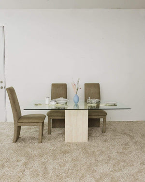 1980s Artedi Italian Travertine Marble and Brass Dining Table - Nice Vintage Things