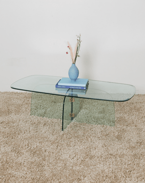 Nice Vintage Things Table 1980s Brass and Beveled Glass Coffee Table In Style of Pace Collection