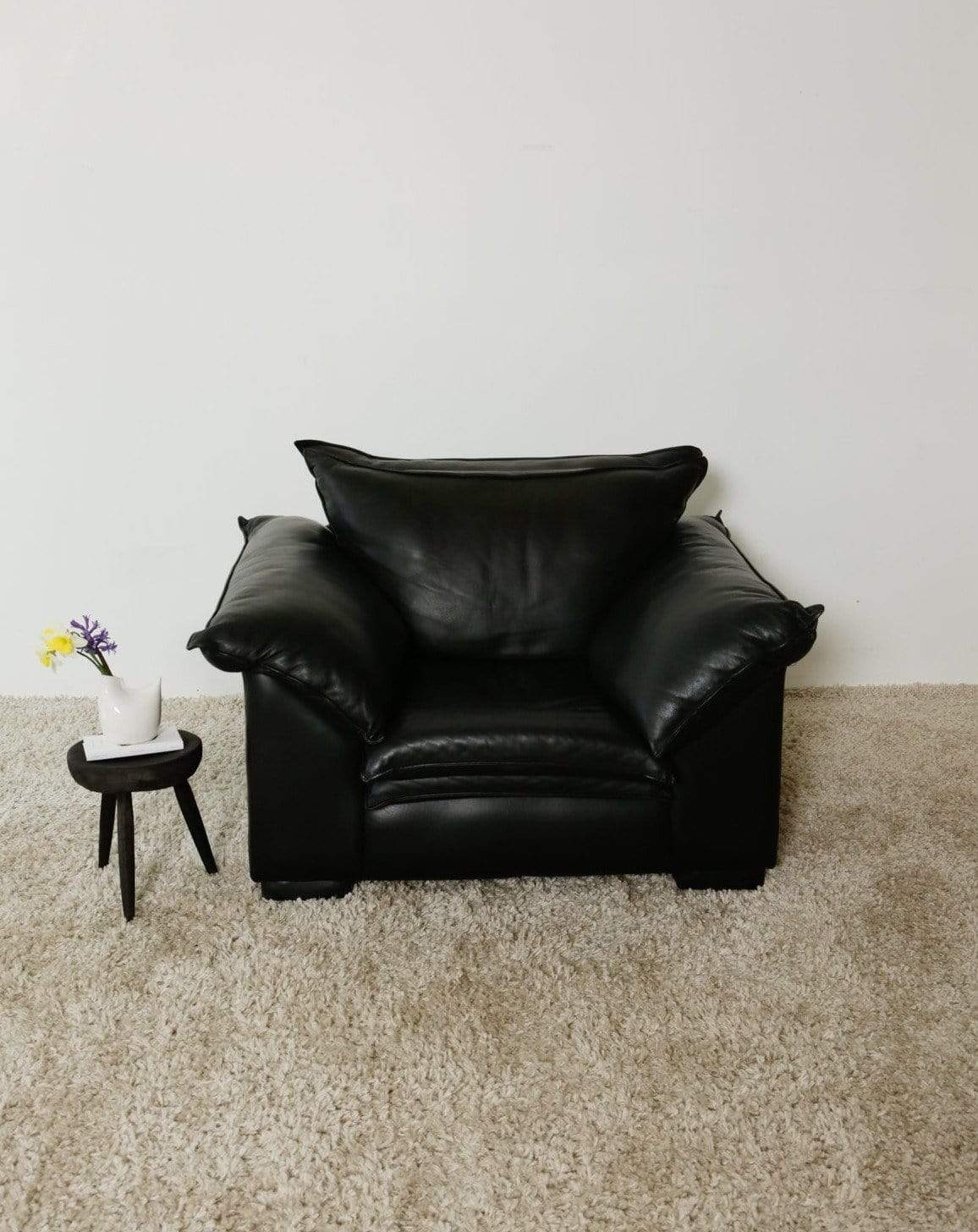 Nice Vintage Things Seating 1980s Buttery Soft Black Leather Armchair