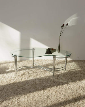 Nice Vintage Things  Table 1980s Glass and Stainless Steel Base Kidney shape Coffee Table