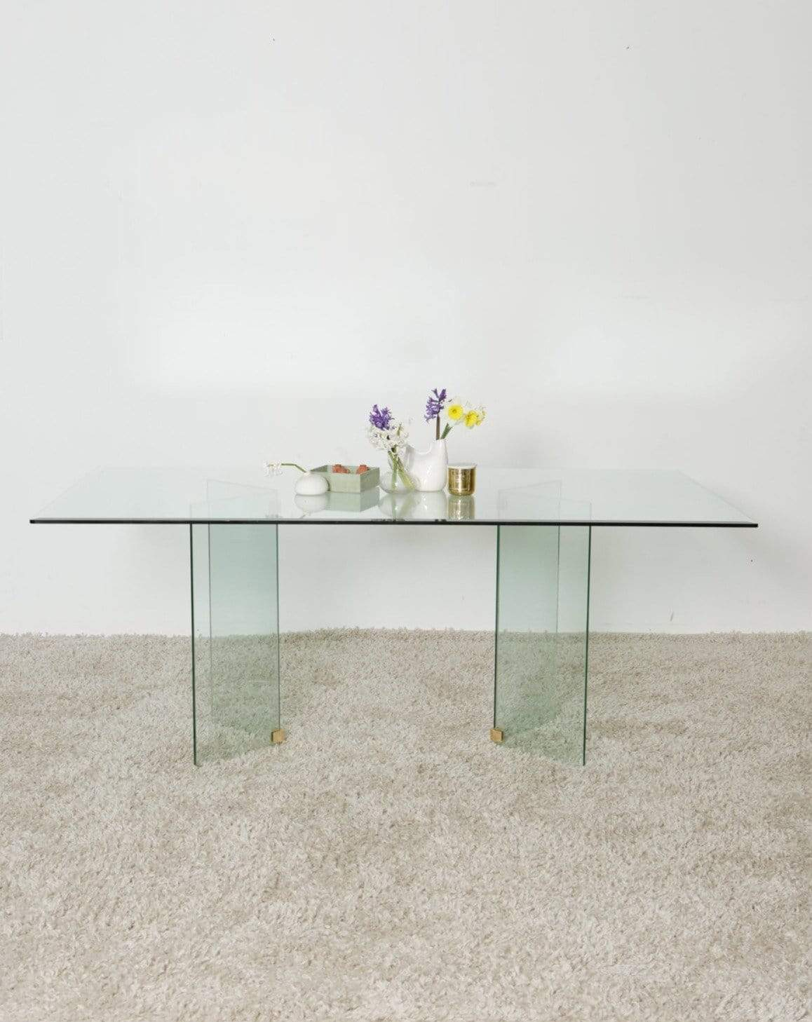 Nice Vintage Things Table 1980s Glass Dining Table seats 6-8 people In Style Of Pace Collection