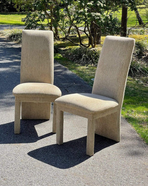 Nice Vintage Things Seating 1980s Milo Baughman Style Parsons Dining Chairs in Etoupe Velvet, Sold As A Pair