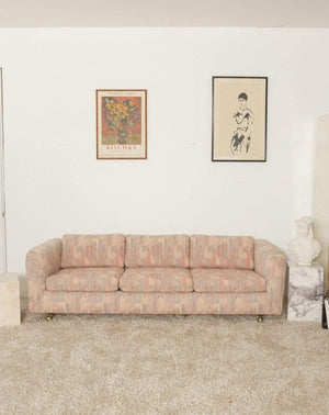 Nice Vintage Things  Seating 1980s Pink Bloomingdales Custom Made 3 Seater sofa with Brass Casters