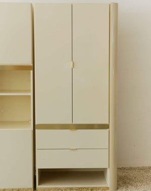 Nice Vintage Things  Housewares, Storage Right Side Cabinet / 2 Tall Doors 1980s Postmodern Lacquer and Brass Trim Cabinet