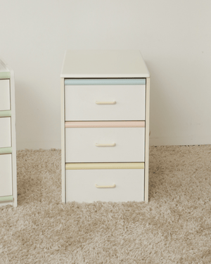 Nice Vintage Things Storage 1980s Vintage Ice Cream Colored Side 3-Drawer