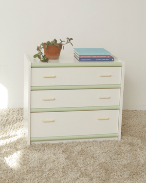 Nice Vintage Things  Storage 1980s Vintage Peach and Mint 3 Drawer Dresser
