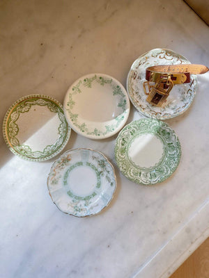 5 Tiny Vintage Porcelain Green Dishes - Nice Vintage Things