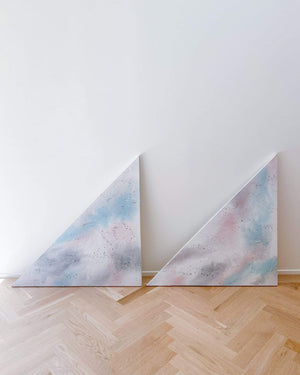 ABSTRACT TRIANGULAR OIL ON CANVAS, PAIR - Nice Vintage Things