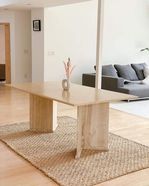 Angled Travertine Dining Table - Nice Vintage Things