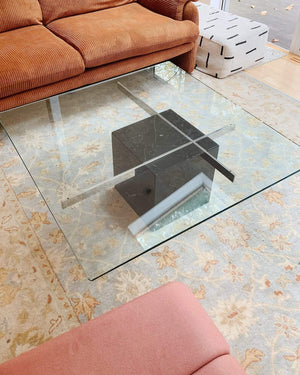 Architectural 1970s Artedi Black Marble and Chrome Coffee Table With Glass Top, Hollywood Regency - Nice Vintage Things