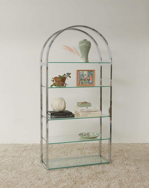 Nice Vintage Things  Storage Chrome and Glass Half Moon Bookshelf/Étagère in Style of Milo Baughman⁠