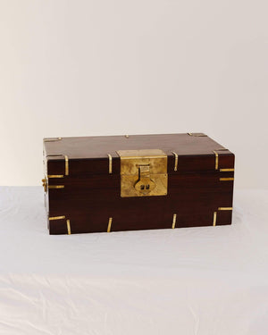 English Antique Mahogany Box with Brass Detail Circa 1890 - Nice Vintage Things