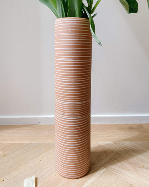 Handmade Terra Cotta Toned Striped Long Vase - Nice Vintage Things