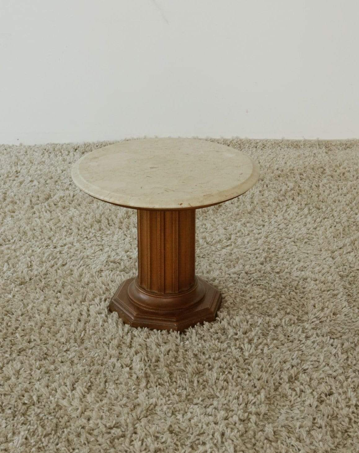 Nice Vintage Things Table Marble Top And Wood Base Round Side Tables