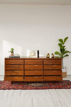 Mid Century Modern Walnut and Brass Credenza by Cavalier Furniture - Nice Vintage Things