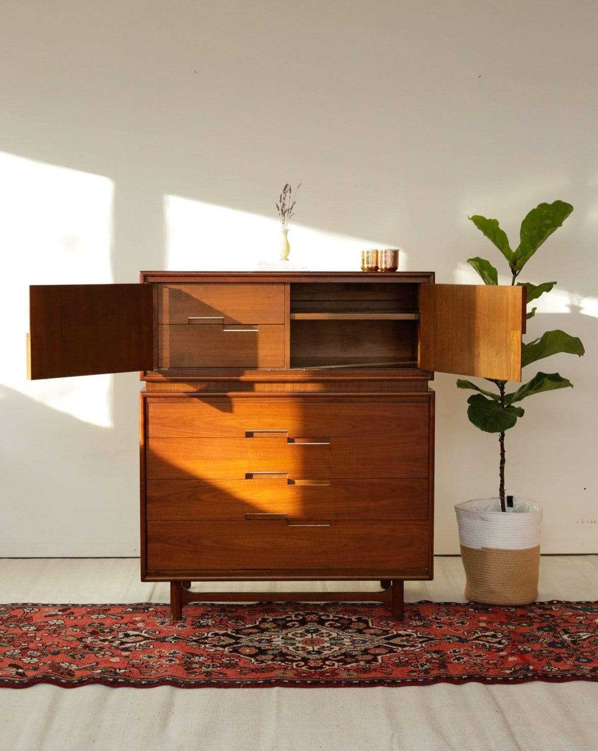 Mid Century Walnut and Brass Tallboy Dresser by Cavalier Furniture - Nice Vintage Things