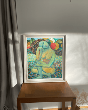 Oil on Canvas Painting of a Nude Woman by O. Phnumohosa Dated 1997 - Nice Vintage Things