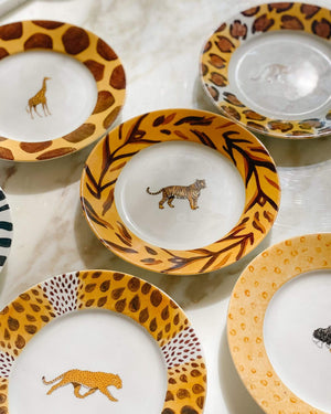 Patricia Deroubaix Porcelain Jungle Collection, 6 inch Plates, Set of 6 - Nice Vintage Things
