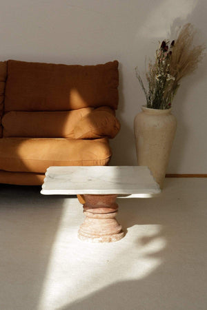 SOLID PINK TRAVERTINE and Italian Marble Top Coffee/Side Table - Nice Vintage Things