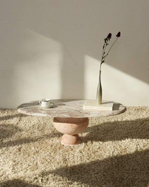 Nice Vintage Things  Solid Pink Travertine Base and Pink Marble Top Oval Coffee Table