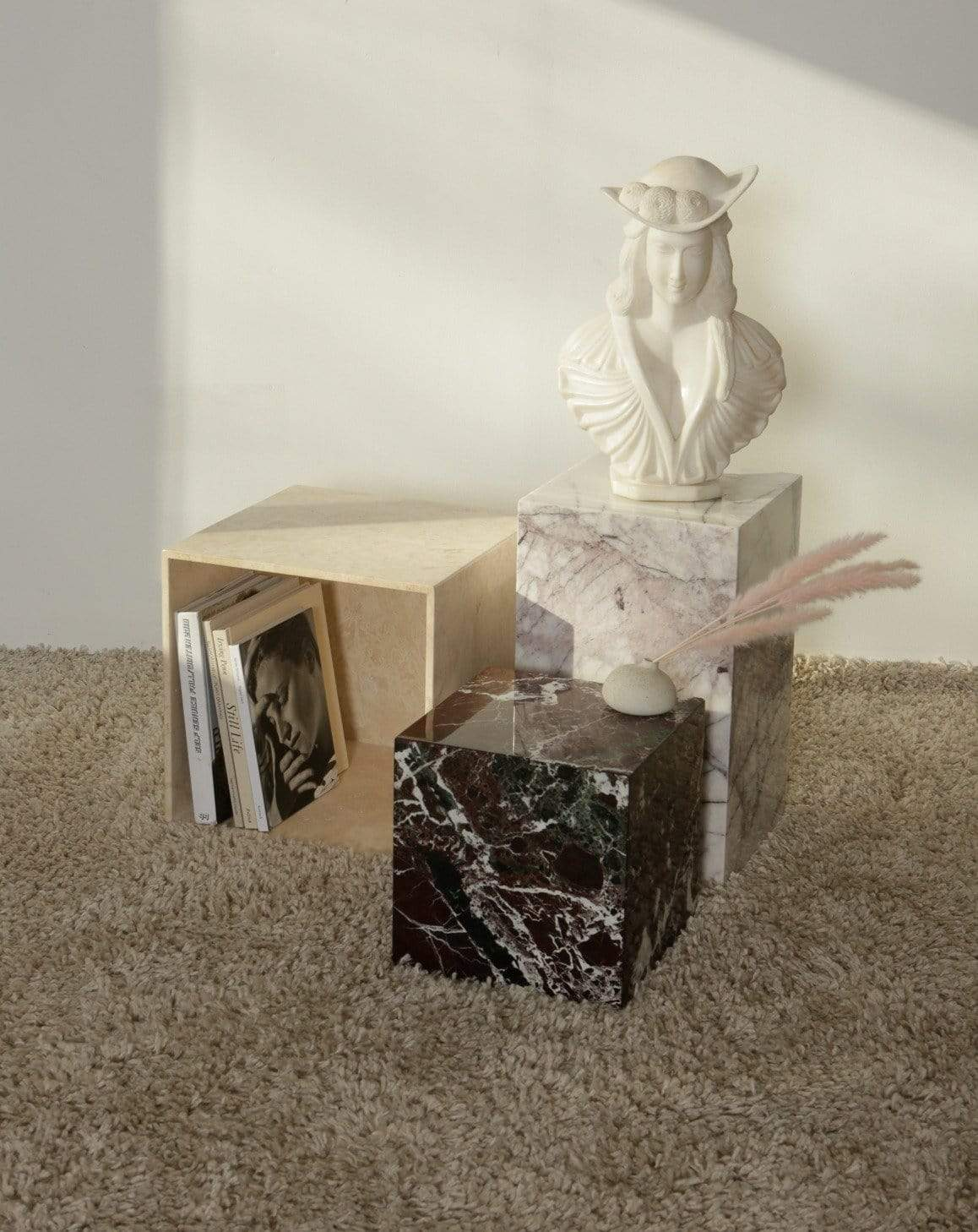 Nice Vintage Things Table Study N°2: Travertine Cube Table