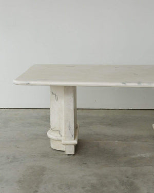 1970s White Marbled Resin Dining Table - Nice Vintage Things