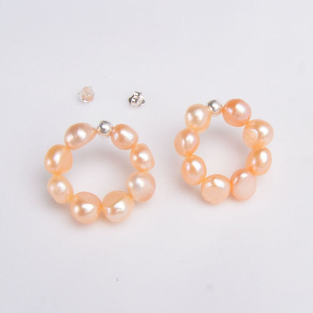 Silver Trend Natural Freshwater Pearl Stud Earrings - MyWishBox