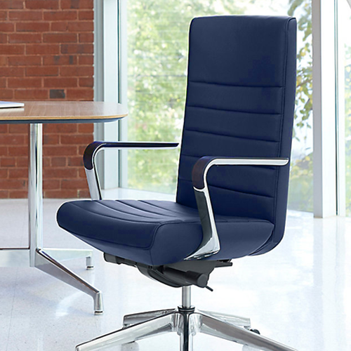 HNI Gunlocke Executive Chair on Glides, Blue Leather - Ex Showroom