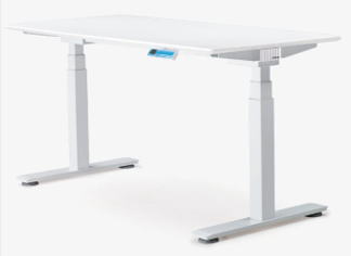 Koplus Hop Height Adjustable Single Desk with Fabric Screen- Ex Showroom