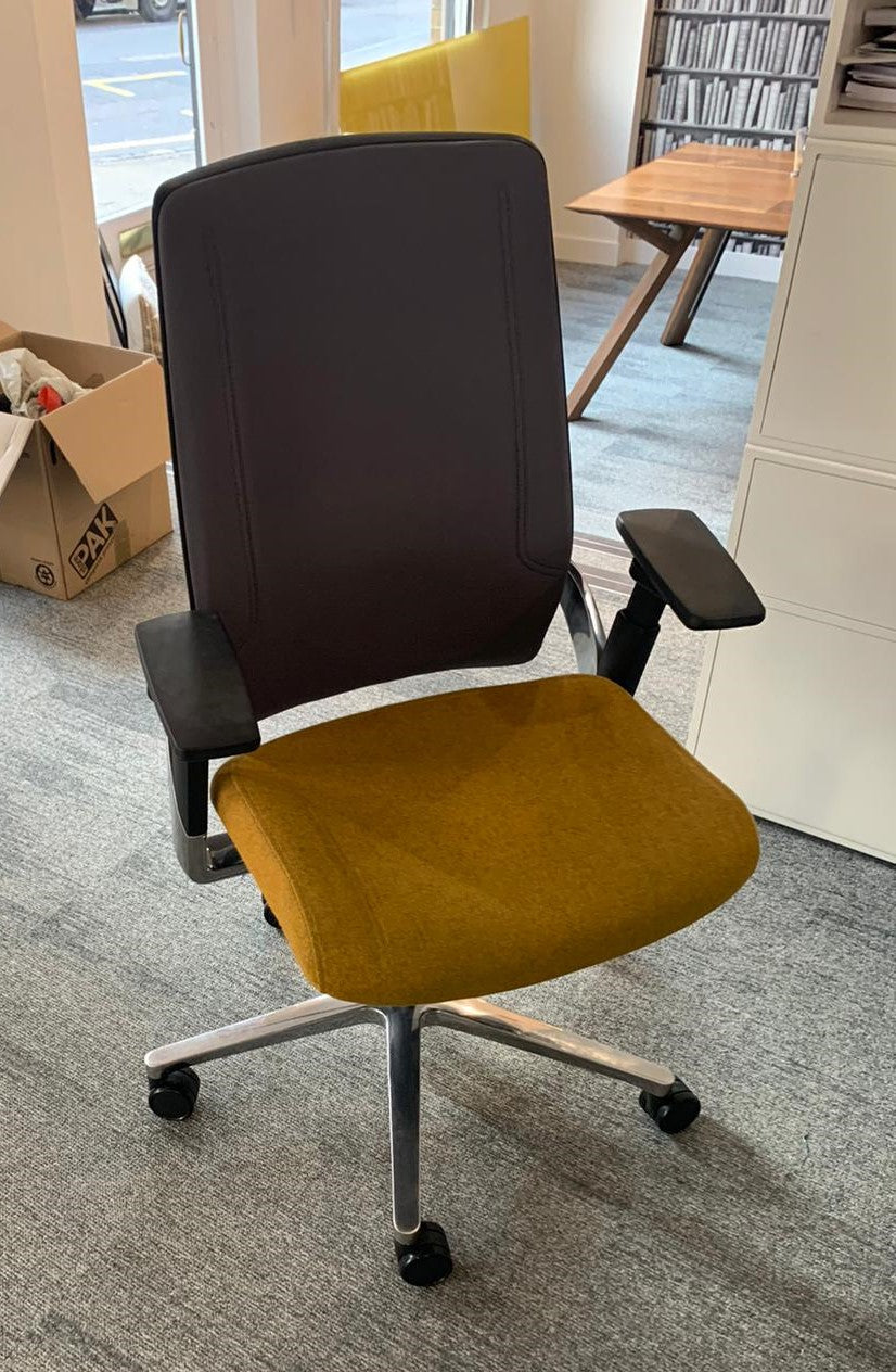 Senator I-Work Task Chair on Castors, Black Frame with Mustard Seat - Ex Showroom