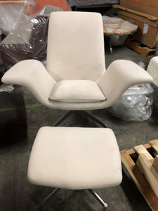 HNI HBF Dialogue Lounge Chair and Ottoman, Cream - Ex Showroom