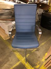 Load image into Gallery viewer, HNI Gunlocke Executive Chair on Glides, Blue Leather - Ex Showroom