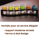 verre a shot support en bois