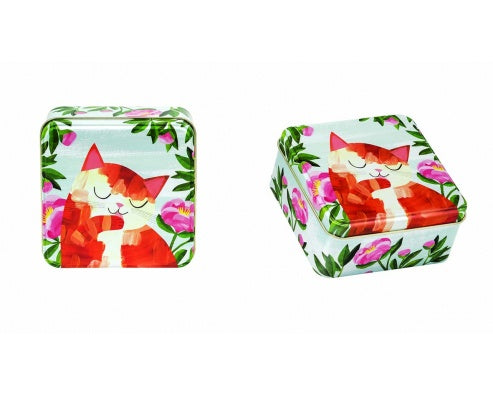 Planet Cats Flat Square Tin
