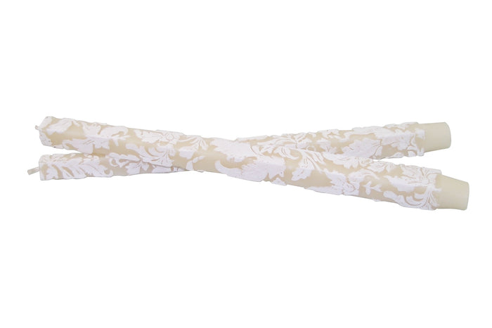 "Damask Leaf 12"" Taper Set - Ivory & White"