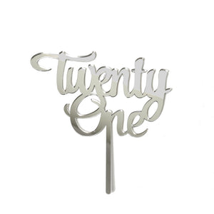 Number Twenty One Cake Topper - Mirror