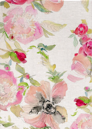 Watercolour Pink/Black/Green Flowers Linen Tea Towel
