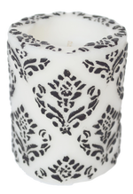 "Pineapple Damask 3""Recessed Pillar - White & Black"