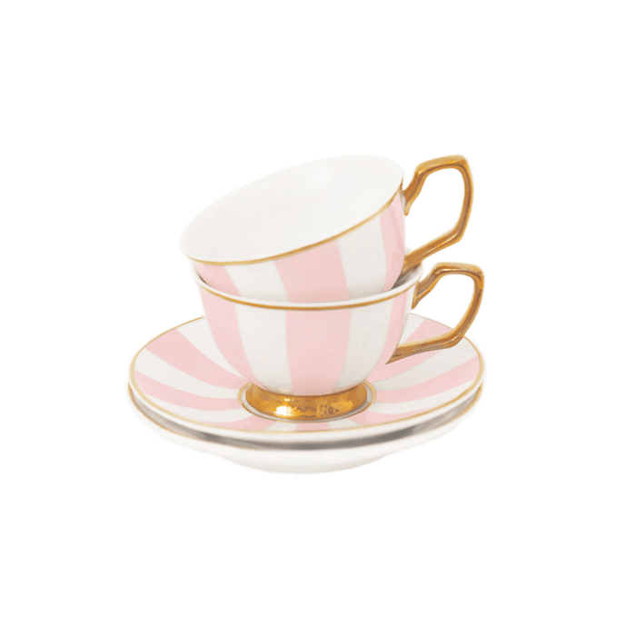 Teacup & Saucer Petite Stripes Blush Set of 2