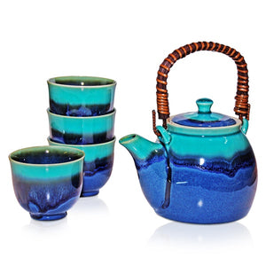 Rischi Turquoise Teapot + 4 Cup Set