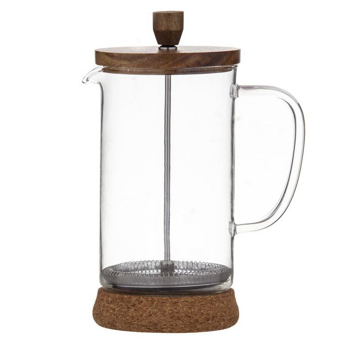 Naples Coffee Plunger Acacia & Cork Base 1Lt