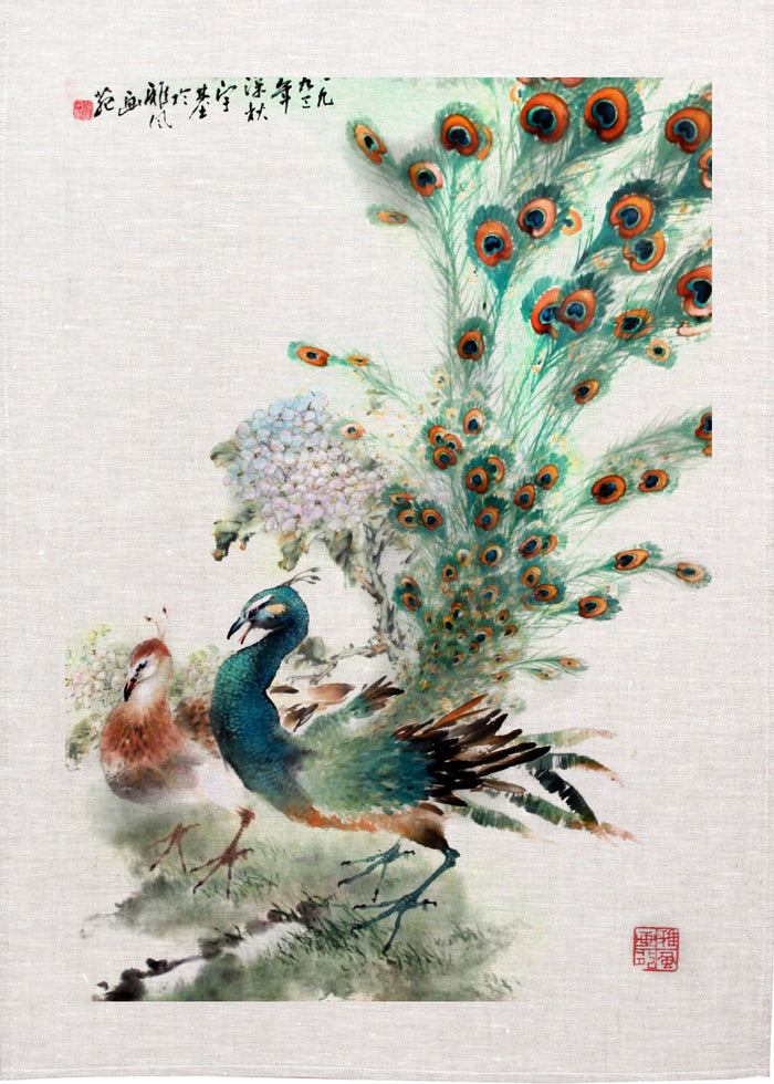 Peacock Linen Tea Towel
