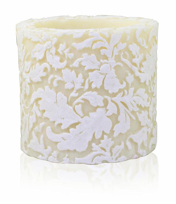 "Damask Leaf 4""Recessed Pillar - Ivory & White"