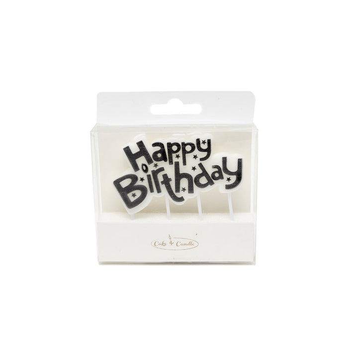 Black Happy Birthday Candle Plaque