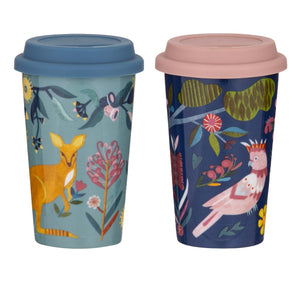 Double Wall Travel Mug Australiana 300ml 2 assorted designs