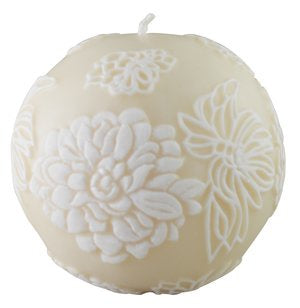"Japanese Chrysanthemum 4"" Sphere - Ivory & White"