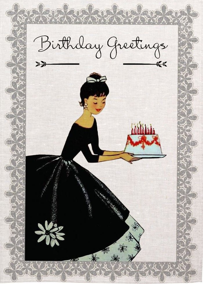 Birthday Greeting Black Dress Tea Towel